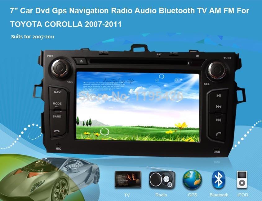 "Android 7"" Car Dvd Gps Navigation Radio Audio Bluetooth TV AM FM For TOYOTA COROLLA 2007-2011(China (Mainland))"