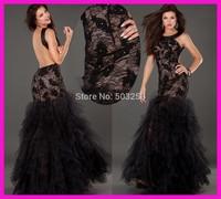FCD6 Elegat Sheath Organza Skirt Black Lace Backless Fashion Formal Evening Dresses 2014