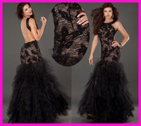 FCD6 Elegat Sheath Organza Skirt Black Lace Backless Fashion Formal Evening Dresses 2014