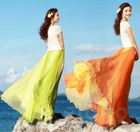 2014 Spring Summer New Ruffles Color Block Chiffon Women's Maxi Skirt Floor-length Bohemian Casual Striped Long Sheer Skirts