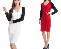 New 2014 Womens V_Neck Bodycon Cocktail Clubwear Dress  Long Sleeve Party Ladies Pencil Dress Girl Dress