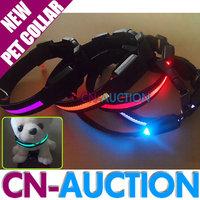 FREE SHIPPING! High Quality Pet Collar Nylon LED Flashing Night Safety Dog Collar - 4 Sizes Option (CN-PC01)