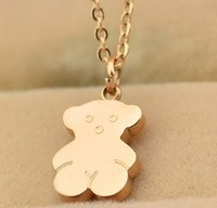14k rose gold plated bear necklaces/43cm
