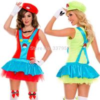 4Pcs Set New Super Mario Plumber Cosplay Dress Exotic Costumes 2014 Women Ladies Sexy Lingerie Costume Cloth Wholesale 10pcs/lot