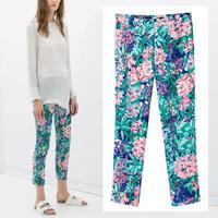 2014 Newest Vintage Women Summer Chic Floral Print Zip side Slim Tight Trousers Pants Legging S M L