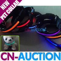 FREE SHIPPING! High Quality Pet Collar Nylon LED Flashing  Night Safety Dog Collar - 4 Sizes Option 10PCS/LOT (CN-PC01)