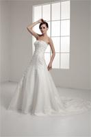 2014 Amazing Appliques Beaed Chapel Train Satin Zipper-back Wedding Dress