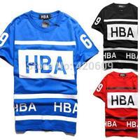 Free Ship 2014 Fashion Brand T Shirt Streetwear Men Hiphop Tee HBA Short Sleeve Pure Cotton Loose Shirts
