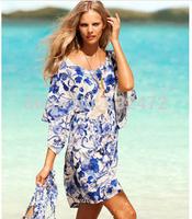New 2014 women summer European version Ice retro print beach dresses swimwear beach cover up Cover-Ups Women's Clothing