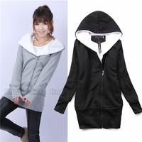 Fashion Korea Women Girls Ladies Casual Long Hoodie Slim  Jacket Warm Outerwear Hooded Zip Up Coat Tops Overcoat Blouses BPQ105