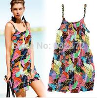 New 2014women summer Ice silk cotton loose Sling resort bohemian beach dresses swimwears beach cover up Cover-Ups Women Clothing