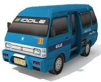 Classic van Asphalt Devil Angkot 61 3D paper model DIY manual