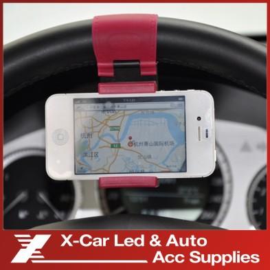 High Quality Silicon Car Steering Wheel Mobile Phone Socket Holder 54-76mm Retractable Cellphone GPS Car Wheel Mini Bracket(China (Mainland))