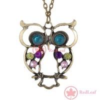 RedLeaf Lovely Crystal Fashion Sweet Style Owl Carve Necklace Worldwide free shipping