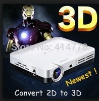 convert 2D to 3D DLP Mini  Shutter 3D HD Projector 1280*800 1080P  Amazing display effect Beamer Projector,home projecotr