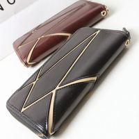 2014 fashion cowhide patchwork female large capacity genuine leather women's long design zipper wallet