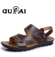 2014 New Men's Sandals Summer Casual Beach Genuine Leather Two-use Sandals slides Brown/ Black 4 color