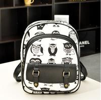 New 2014 OWL printing backpack children backpacks women travel bags girl cartoon bag brand shoulder bags PU school backpack