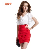 Free shipping2014 spring and summer one-piece dress sexy ruffle short-sleeve faux two piece slim hip chiffon one-piece dress