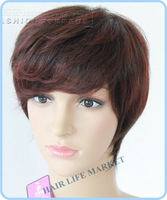 Free shipping human hair wig color picture brown red color wig