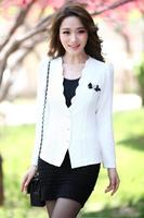 Весной основные куртки женщин блейзер пеплум slim fit случайные молнии карьеры Топ пиджак костюм жакет кардиган плюс размер