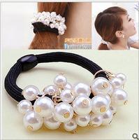 5pcs/lot Free Shipping Fashion Pearl Hair Scrunchies, Girls Ponytail Hair Band. Woman hair accessories