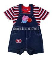 Wholesale 6pcs/lot brand boys clothing sets baby&kids sets peppa pig boys sets 2pcs stripe short sleeve t-shirts+jeans shorts