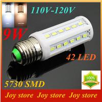 9W,5730 SMD,LED Lamps Bulb,E27 B22 E14,110V,120V,Cold White/Warm white,42 LED,Corn Light Bulb,Ultra bright,free shipping