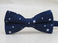 100% corduroy fabric men's dark blue bowtie /white Small five-pointed star pattern fashion leisure style bow tie free shipping