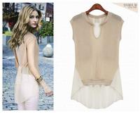 2014 spring and summer new women dovetail short sleeved chiffon blouse chiffon and knit patchwork chiffon shirt