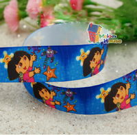 "50 Yards Wholesale 1"" 25mm Dora Printed Grosgrain Ribbon Hair Bow Craft Scrapbook"