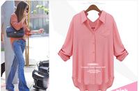 2014 Long-sleeved Women can chock chiffon shirt free shipping