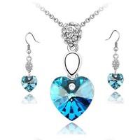 Austrian Crystal Jewelry Women Necklace Silver Earrings Heart-shaped Necklace & Pendants for Women ML-375-2