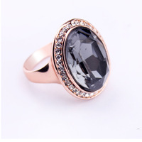 Sample Sale Fine Jewelry Vintage Anillos Bijoux Rose Gold Plated Ring With Big Round Crystal For Women Party Off Size 7 8 9