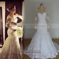 Hot Sale Brazil Fashion Wedding Dress With Nude Color Long Sleeve Mermaid Wedding Dress