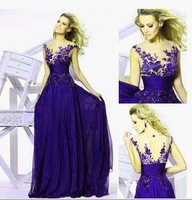 NEW 2014 Purple Cap Sleeveless Embroidery Hot-Selling Bridesmaid Dresses Bridal Gown XS M L XL 2XL 3XL 4XL 5XL