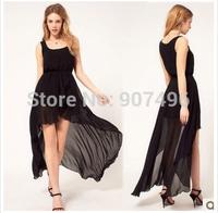2014 fashion before long after short  irregular elegance design chiffon bohemia maxi dresses free shipping best selling