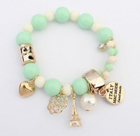 7 Colors 2014 New Arrival Fashion Cute Hearts Romantic Roses Nameplate Eiffel Pearl Beads Bracelet Jewelry For Women XY-B186
