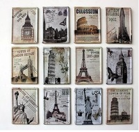 2014New 11*8cm Building Small Iron Metal Craft Vintage Metal Painting Home Decoration Tin Sign Wall Poster/Decor Freeshipping