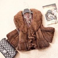 New arrivals Hot Sale! Genuine Knitted  Mink Fur Coats Jackets Natural Furs Gilets Waistcoats Short Fashion Customize Big Size