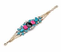 2014 new design blue gem Ms bracelets & bangles fashion red resin chain bracelets for women high quality length 21cm