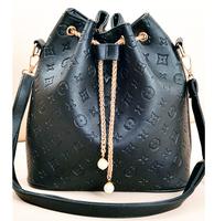 Korean Style Women Bags Vintage Print Bucket Shoulder Bags Fashion Ladies Brand Designer Pearl Chain PU Leather Messenger Bags
