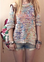 Free Shipping Sweet Gentle Top Vintage Rainbow Jumper Knitted Women Pullovers Sweater 2014 New