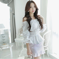 Free shipping 2014 New Fashion women  Long Sleeve White Chiffon Top Blouse Plus Size  High Quality  Retail and Wholesale