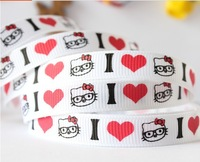 "2014 Wholesale Free Shipping 20 Yards 3/8""9mm hello kitty Grosgrain Polyester Printed DIY Hairbow Ribbons Riband"