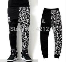 Limited sales,Hip Hop cashew flowers sports haren pants 2014 men`s fashion design of asymmetry casual black sweatpants(China (Mainland))