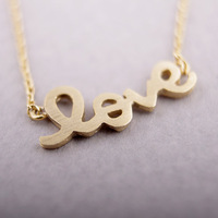 30PCS-N52 Minimal mix styles Crystal Promotion Bijou Gold simple Love Letter Necklace,Chic LOVE Word Necklace Free Shipping