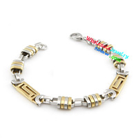 Cool Design Gold & Silver Machine Accessories Mens Stainless Steel Bangle Bracelet Set