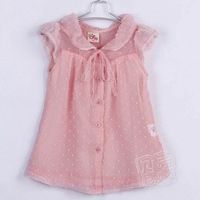 Retail 1PC New 2014 Baby Girls Short Sleeve Fashion Chiffon Blouses Summer Wear Clothing ZZ2240