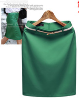 7Colors S-XXXL Plus Size 2014 New Summer high waisted Women's Skirt OL Ladies's Office Formal pencil Skirts Gift Belt SKT360